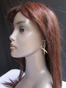 Other Women Metal Celebrity Fashion Gold Scissors Earrings Drop Dangle Rhinestones