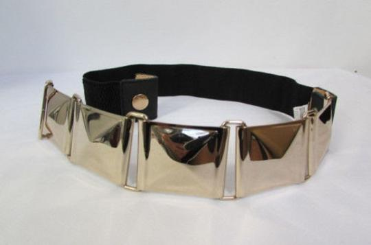 Other Women Gold Squares Metal Plate Belt Hip High Waist Black Elastic