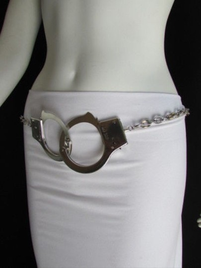 Other Women Silver Metal Chains Fashion Metal Handcuffs Belt =
