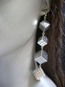 Other Women Fashion Silver Long Vegas Dices Squares Earrings Set 5 Drop