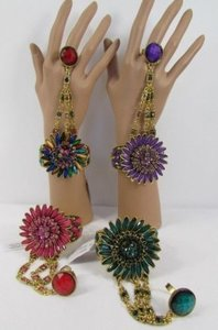 Other Women Big Flower Beads Bracelet Gold Hand Chain Fashion Slave Ring Pink Blue
