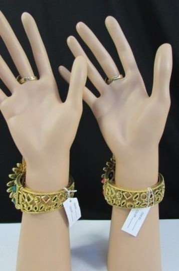Other Women Flower Beads Bracelet Gold Hand Chain Slave Ring Pink Blue