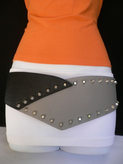 Other Women Elastic Hip Waist Wide Western Belt Black Gray Two Color Spikes