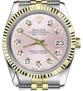 Rolex Women's Rolex 31mm Datejust2Tone Metallic Pink Diamond Dial