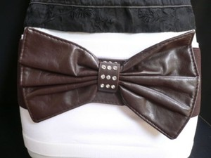 Women Hip Waist Elastic Dark Brown Wide Fashion Belt Huge Bow 27-35