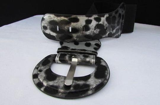 Other Women Hip Elastic Waist Black Silver Leopard Animal Print Fashion Belt