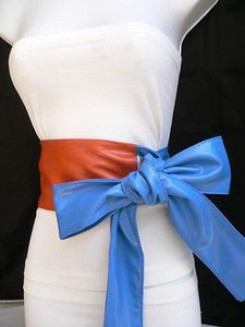 Women Waist Hip Wrap Tie Orange Fabric Belt Blue Bow Detail 27-35 S-m-l