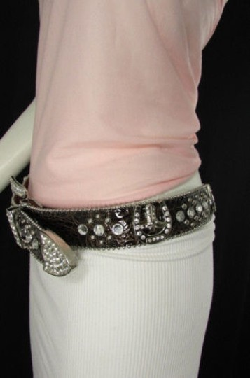 Other Women Western Fashion Brown Leather Belt Horse Shoe Boot Silver Buckle