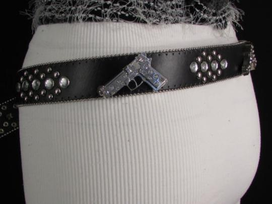 Other Women Black Faux Leather Western Fashion Belt Silver Hand Gun Buckle