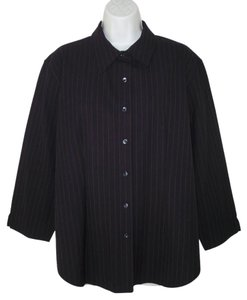 Faonnable Woolcrepe Navy Pinstriped Button Down Shirt