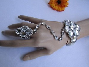 Other Women Silver Metal Hand Chains Fashion Slave Bracelet Ring Beads Rhinestones