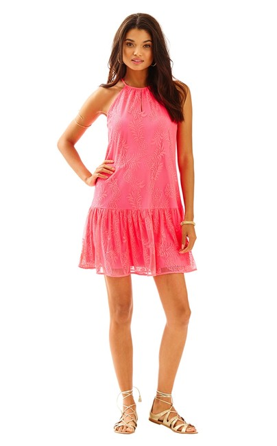 Preload https://img-static.tradesy.com/item/19269847/lilly-pulitzer-pink-pineapple-new-isabeau-lace-l-short-casual-dress-size-12-l-0-2-650-650.jpg