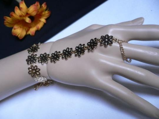 Other Women Gold Flowers Links Fashion Slave Bracelet Wrist To Ring