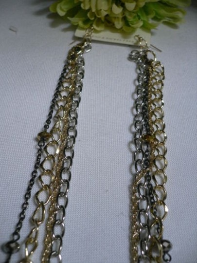 Other Women Long Connected Gold Silver Black Chains Earrings 13 Necklace