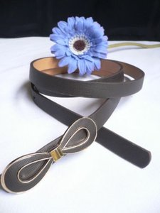 Women Dark Brown Bow Fashion Thin Faux Leather Belt Plus 36-42 M-l-xl
