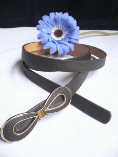 Other Women Dark Brown Bow Fashion Thin Faux Leather Belt Plus Size