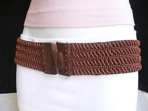 Women Elastic Brown Beads Fashion Belt Hawaiian Wood Buckle 26-45 Xs-xl
