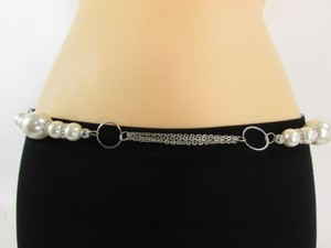 Other Women Waist Silver Metal Chain Fashion Belt Cream White Bead
