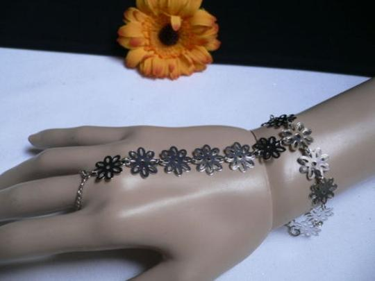 Other Women Silver Flowers Hand Links Chain Fashion Slave Bracelet