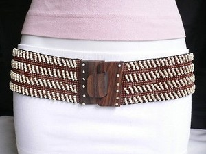 Other Women Elastic Brown White Beads Wide Belt Hawaii Wood Buckle 26-45 Xs-xl