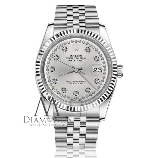 Rolex Women`s 31mm Datejust Silver Color String Diamond Accent Dial Watch