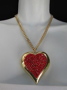 Women Gold Short Fashion Necklace Big Heart Pendant Red Rhinestones 9 Drop
