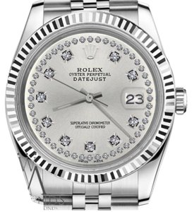 Rolex Men's 36mm Datejust Silver Color String Diamond Accent Dial Watch