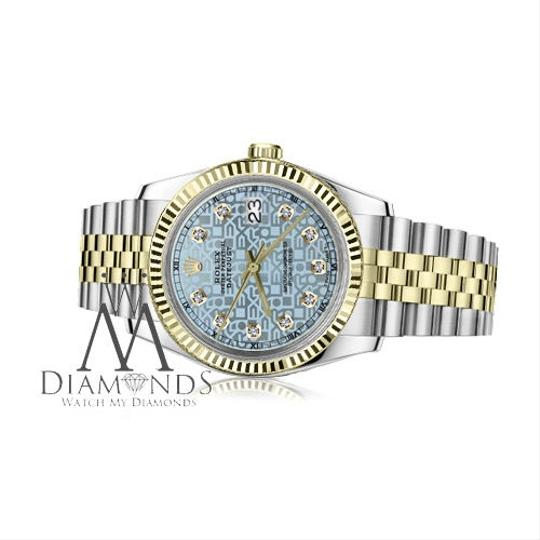 Rolex Women's 26mm Datejust2Tone Ice Blue Color Dial with Diamond Accent
