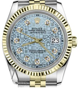 Rolex Women's 31mm Datejust2Tone Ice Blue Color Dial with Diamond Accent