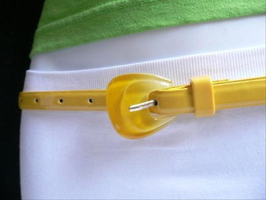 Other Women Yellow Thin Faux Leather Fashion Belt Big Candy Buckle 28-37
