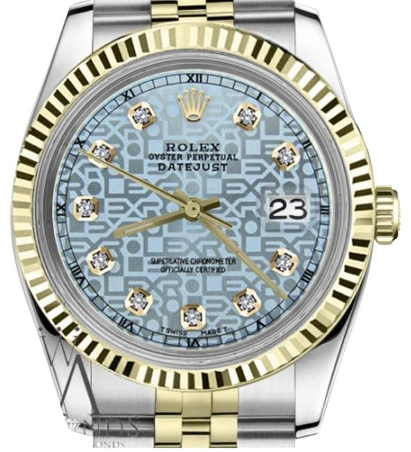 Rolex Men`s 36mm Datejust2tone Ice Blue Color Dial with Diamond Accent Watch Rolex Men`s 36mm Datejust2tone Ice Blue Color Dial with Diamond Accent Watch Image 1