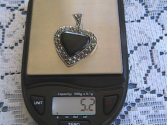 Other Black Onyx & Marcasite Sterling Silver Heart Pendant