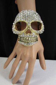 Other Women Gold Metal Big Skull Cuff Bracelet Jewelry Silver Rhinestones