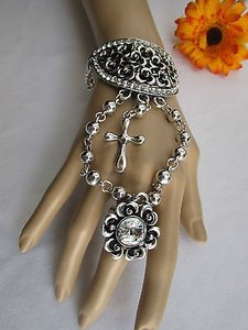 Other Women Silver Flowers Hand Chain Rhinestones Big Cross