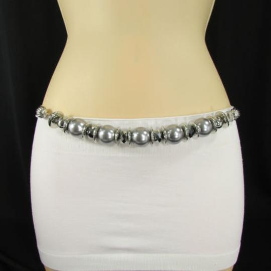 Other Women Hip High Waist Silver Metal Chain Fashion Belt Big Gray Beads
