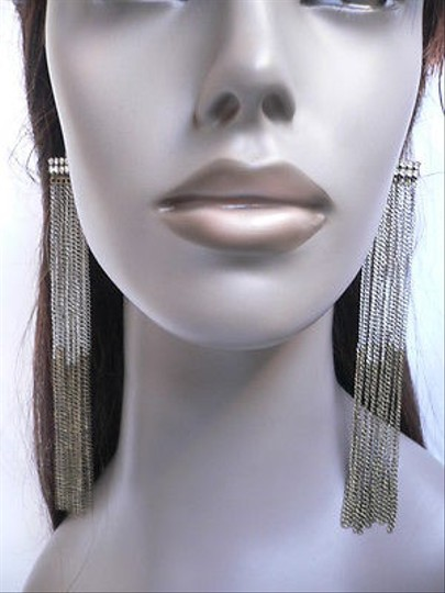 Other Women Miami Long Silver Antique Gold Chains Earrings Set 8 Drop
