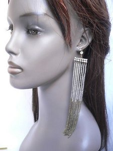 Women Miami Fashion Hot Long Silver Antique Gold Chains Earrings Set 8 Drop