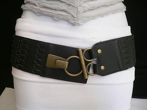 Other Women Belt Antique Gold Buckle Metal Hip Waist Black Fashion Elastic