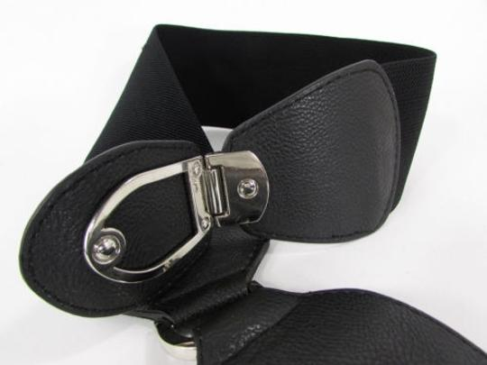 Other Women Elastic High Waist Big Buckle Black Safari Fashion Belt Hip