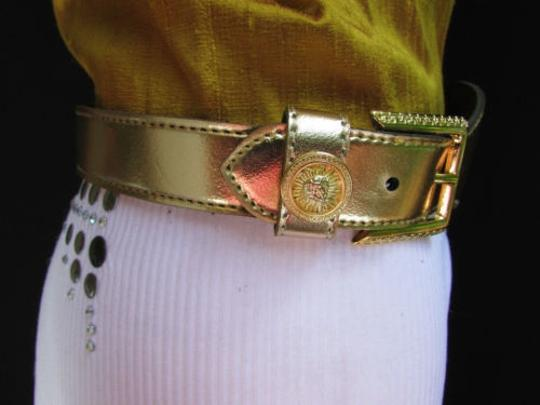 Other Women Big Coin Gold Buckle Gold Fashion Belt 30-34 Sm