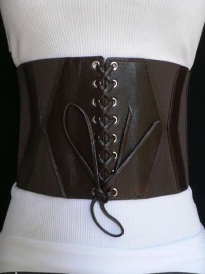 Other Women Wide High Waist Elastic Brown Corset Belt Slim