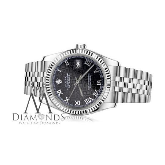 Rolex Women's Rolex 26mm Datejust Black Jubilee Roman Numeral Dial Watch