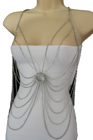 Other Women Silver Metal Body Multi Chain Casual Jewelry Net Web Necklace