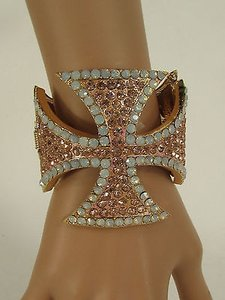 Other Women Cross Cuff Bracelet Fashion Jewelry Rhinestones Black Gold