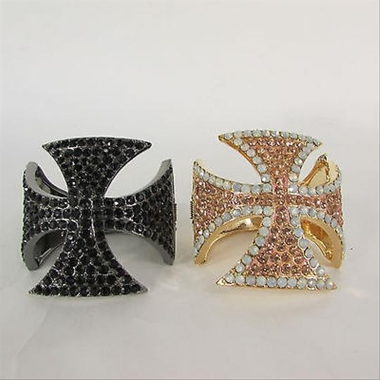 Other Women Cross Cuff Bracelet Jewelry Rhinestones Black Gold