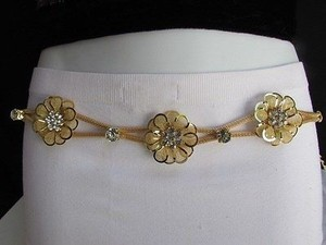 Other Women Hip Waist Gold Metal Flowers Chains Thin Belt Big Beads 27-46 S-xxl