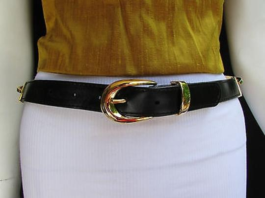 Other Women Hip Waist Moroccan Gold Metal Buckle Black Fashion Belt 28-32 Ml