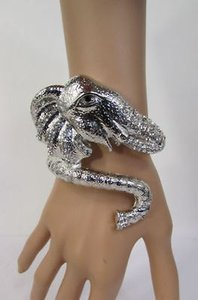 Women Dressy Wide Silver Metal Cuff Big India Elephant Head Fashion Bracelet