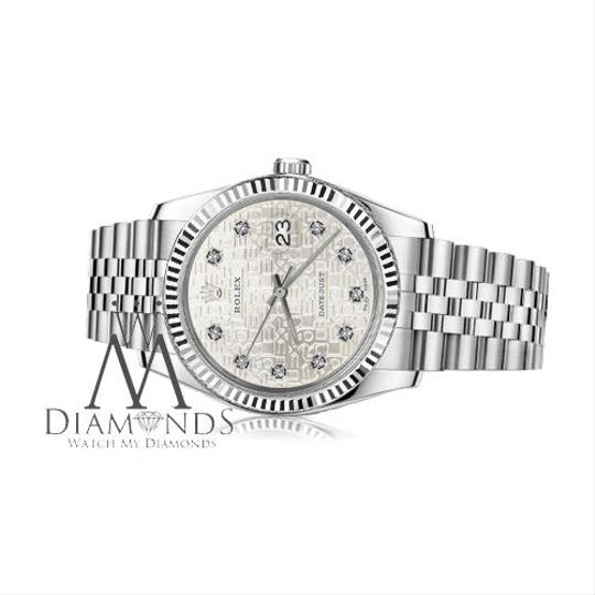 Rolex Women`s 31mm Datejust Diamond Dial Silver Jubilee Metal Plate Watch