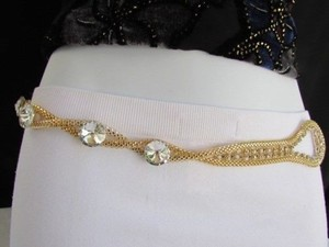 Women Hip Waist Gold Big Beads Loop Mesh Metal Chains Thin Belt 27-46 S-xxl